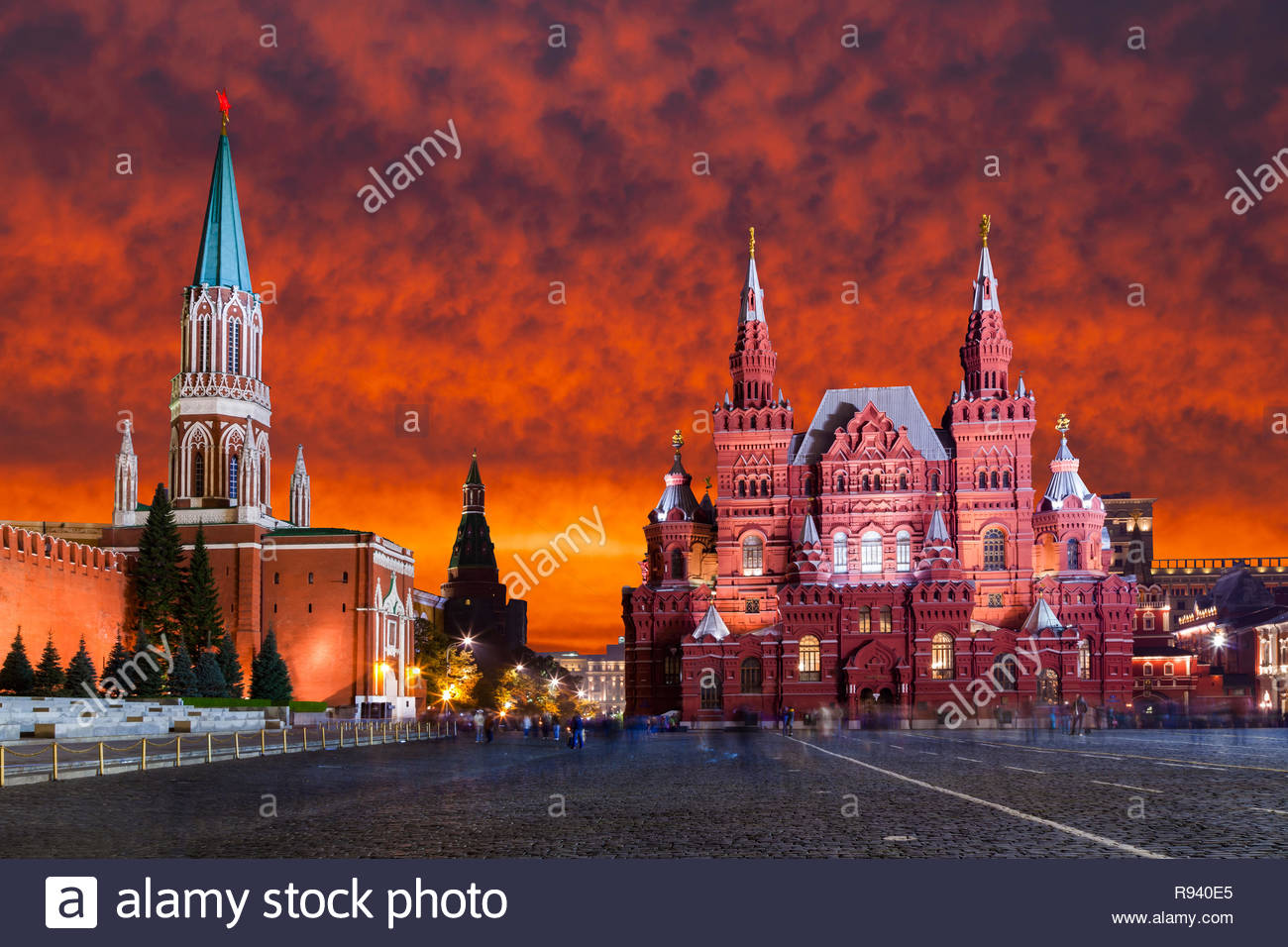 Red Square, Moscow Kremlin at sunset. Moscow, Russia - Stock Image