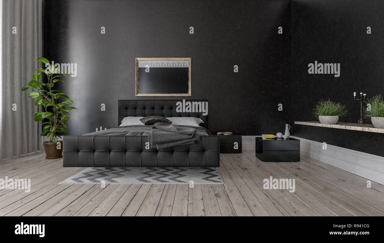 Interior Of Spacious Bedroom With Black Wall Wooden Floor Green Indoor Plants And King Size Bed Decorated With Black Leather Stock Photo Alamy
