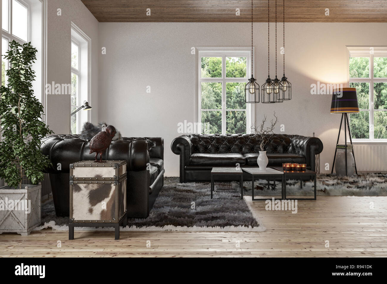 Spacious living room with two black leather couches on fur ...