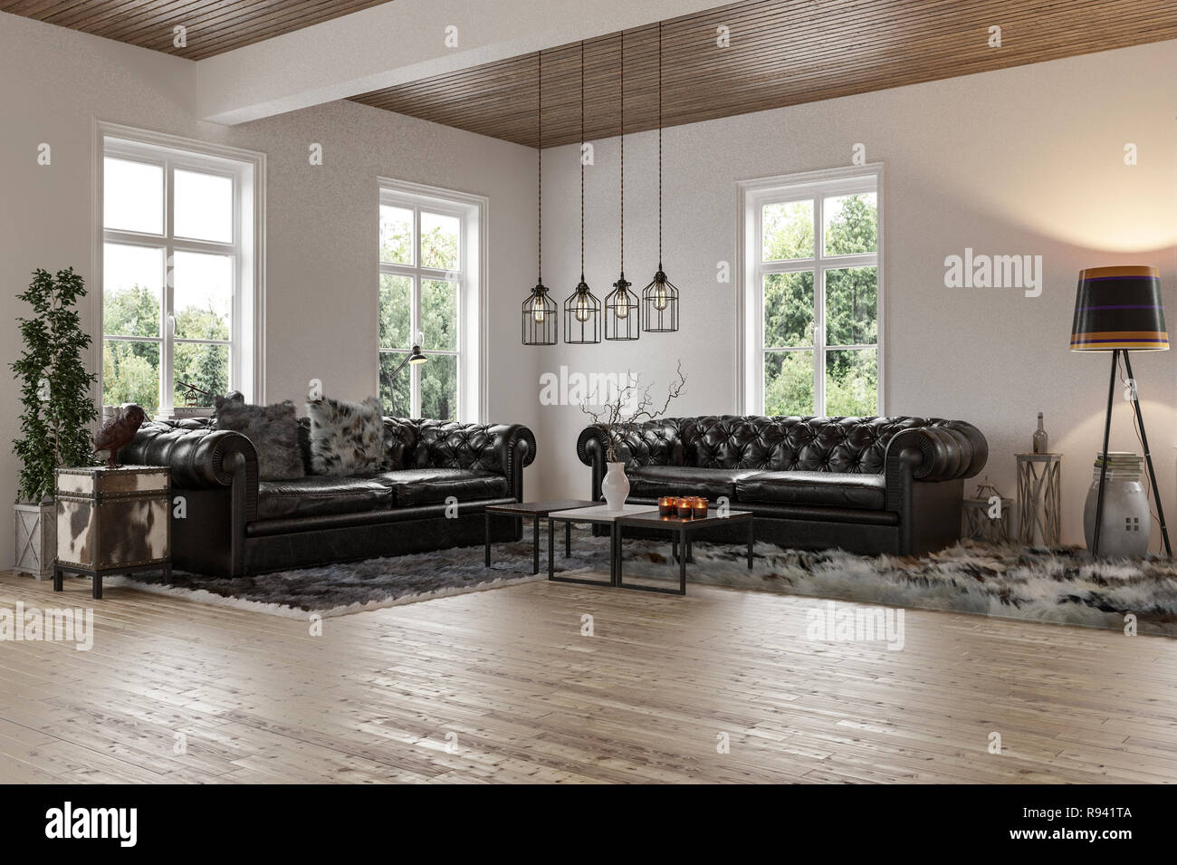 Interior Design Of The Room With Two Black Leather Couches Wooden Floor And Ceiling White Walls With Big Windows And Fur Carpets On The Floor Stock Photo Alamy