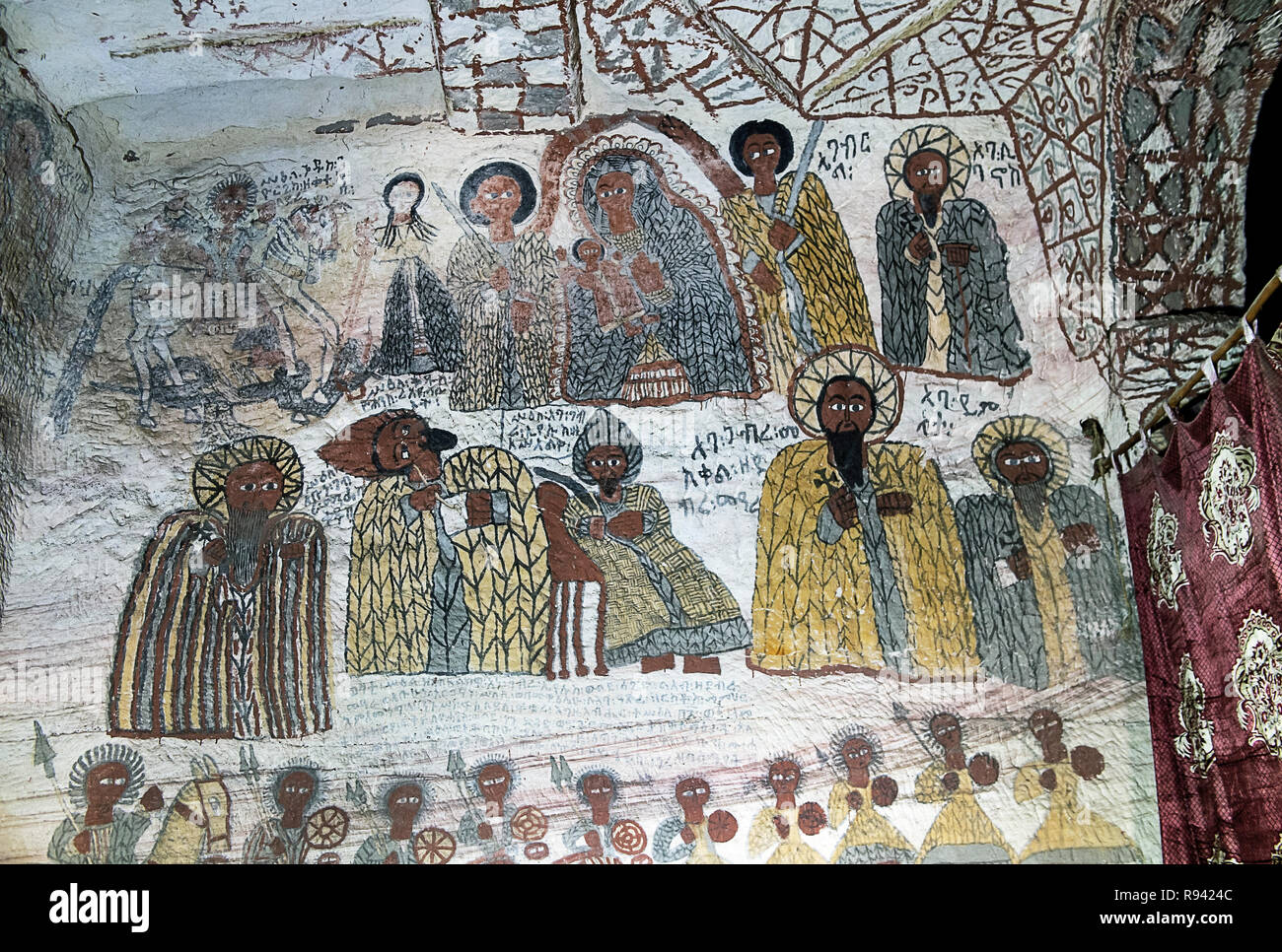 Fresco in the rock-hewn church Yohannes Maequddi, Gheralta region, Tigray, Ethiopia Stock Photo