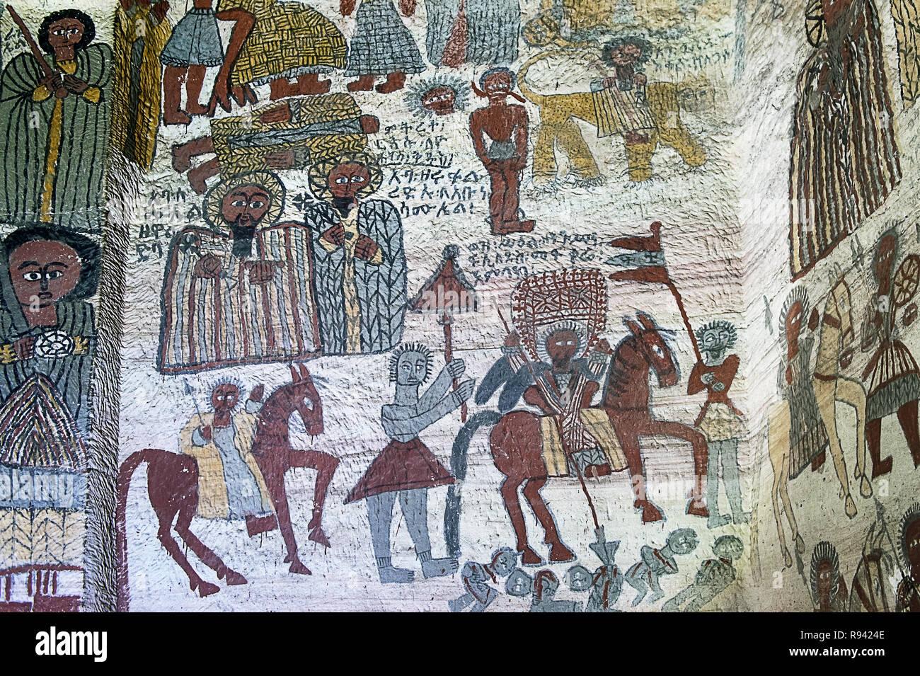 Fresco in the rock-hewn church Yohannes Maequddi, Gheralta region, Tigray, Ethiopia - Stock Image