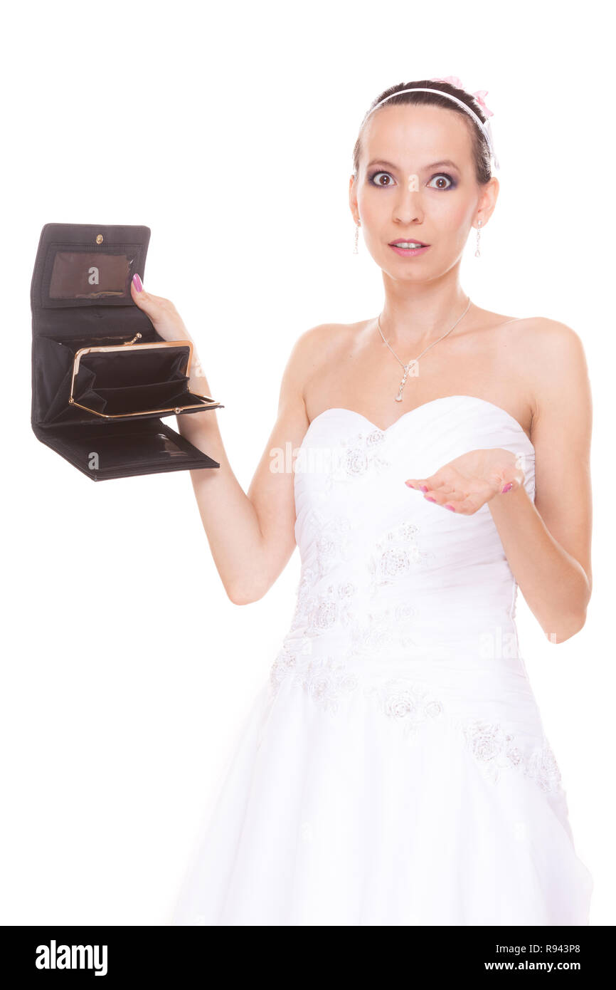 Bride With Empty Wallet Young Girl Holding Purse Looking For Money