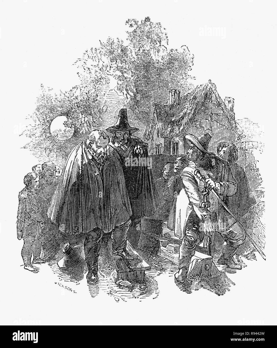 A scene from Hudibras, an English satirical polemic written by Samuel Butler(1613 – 1680), poet and satirist, mostly against Parliamenterians,Roundheads, Puritans, Presbyterians and other factions involved in the English Civil War of 1642-1651. The epic tells the story of Sir Hudibras and his squire, Ralpho who ride forth from the knight's home to reform what they call sins and what the rest of the world regards as mild amusement. Eventually Hudibras and Raphoe are released from the stocks. - Stock Image