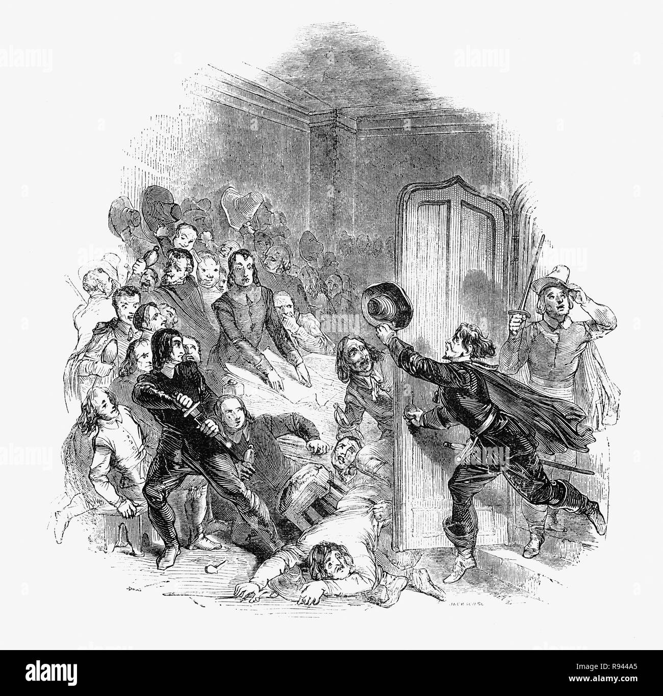 A scene from Hudibras, an English satirical polemic written by Samuel Butler(1613 – 1680), poet and satirist, mostly against Parliamenterians,Roundheads, Puritans, Presbyterians and other factions involved in the English Civil War of 1642-1651. Here a body of Independents in council interupted by a messenger with intelligence about the state of public opinion for the restoration (of King Charles II) - Stock Image