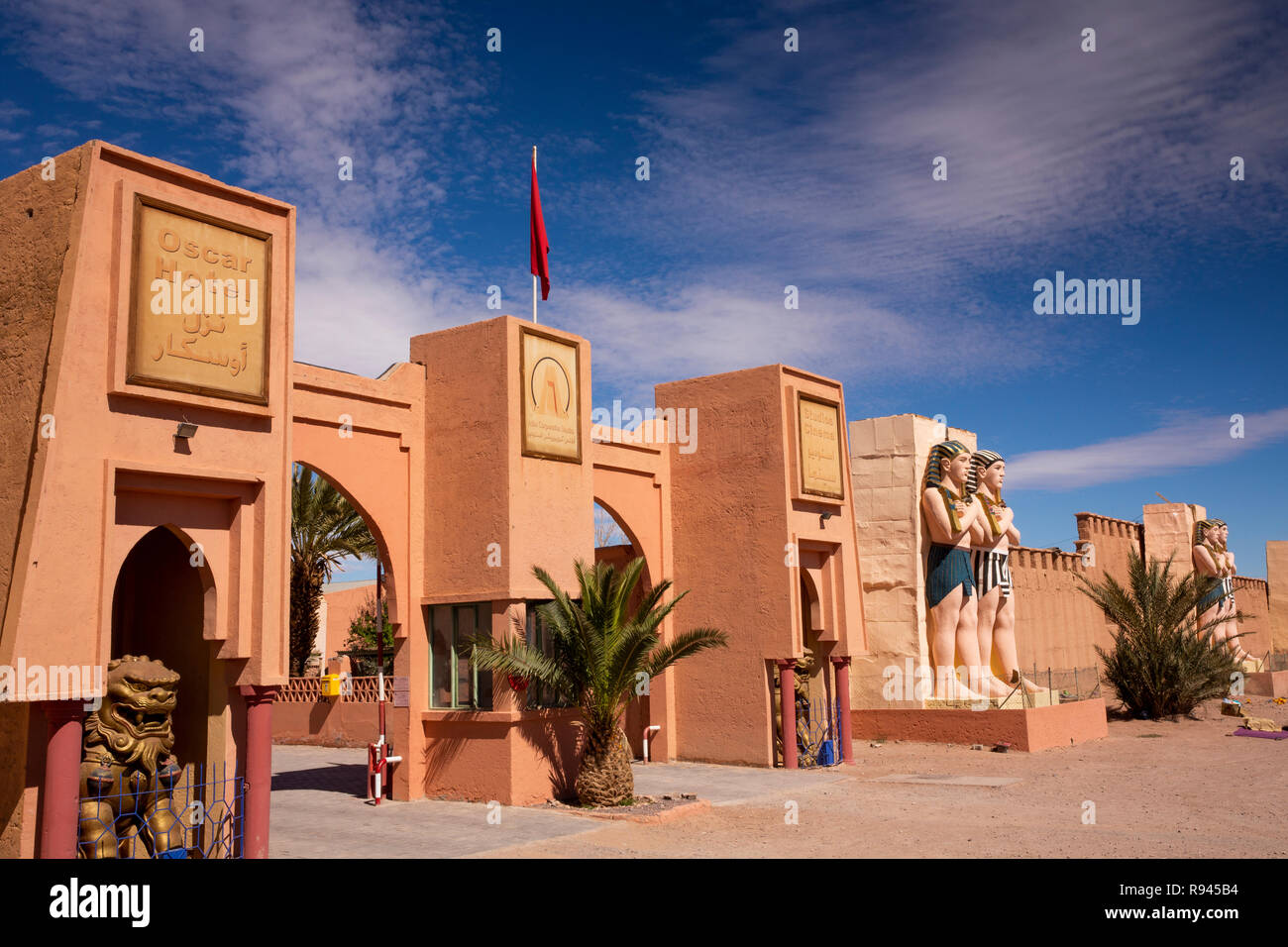 morocco ouarzazate atlas corporation film studio oscar hotel and studios cinema egyptian themed entrance R945B4