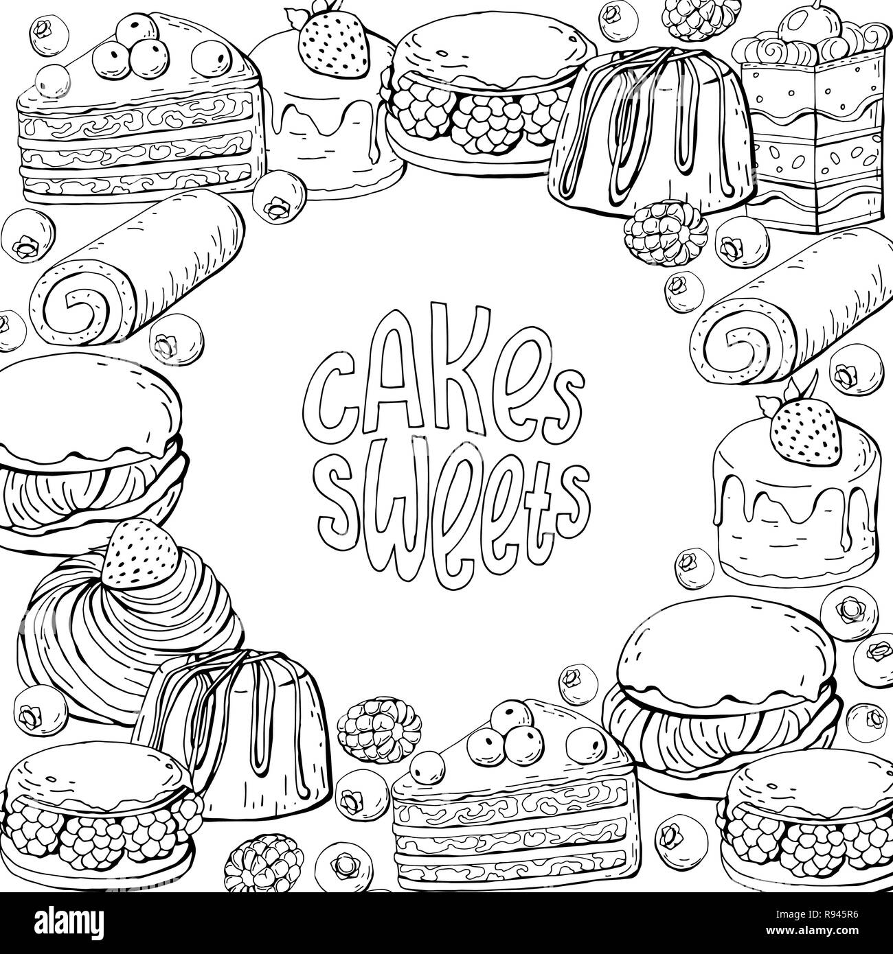 Vector template with monochrome hand draw sweet cakes and lettering for design flyers and posters, black and white - Stock Image