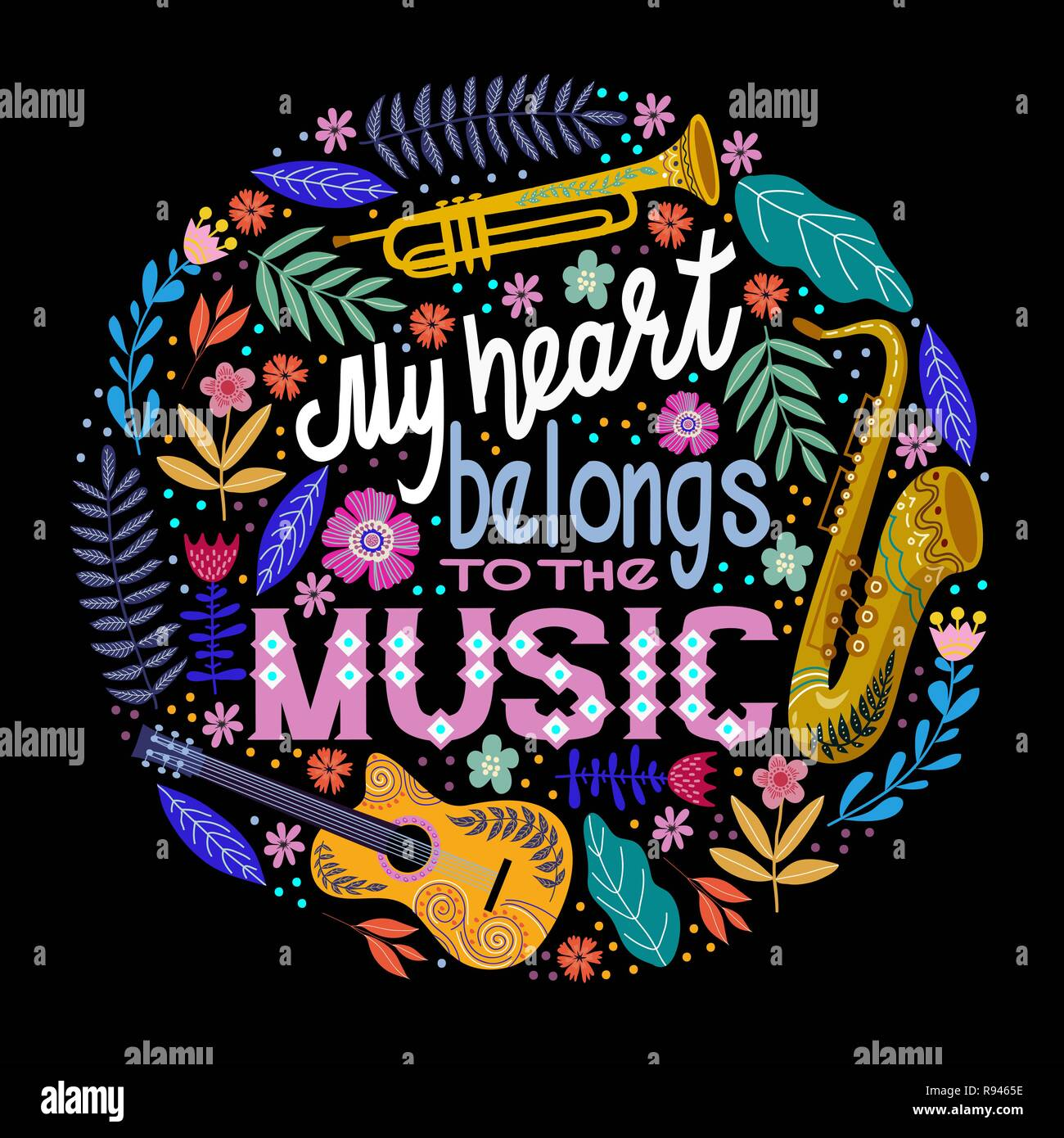 Bright colorful Round concept, lettering with musical instruments and flowers. Hand drawing flat doodle vector illustration. - Stock Vector