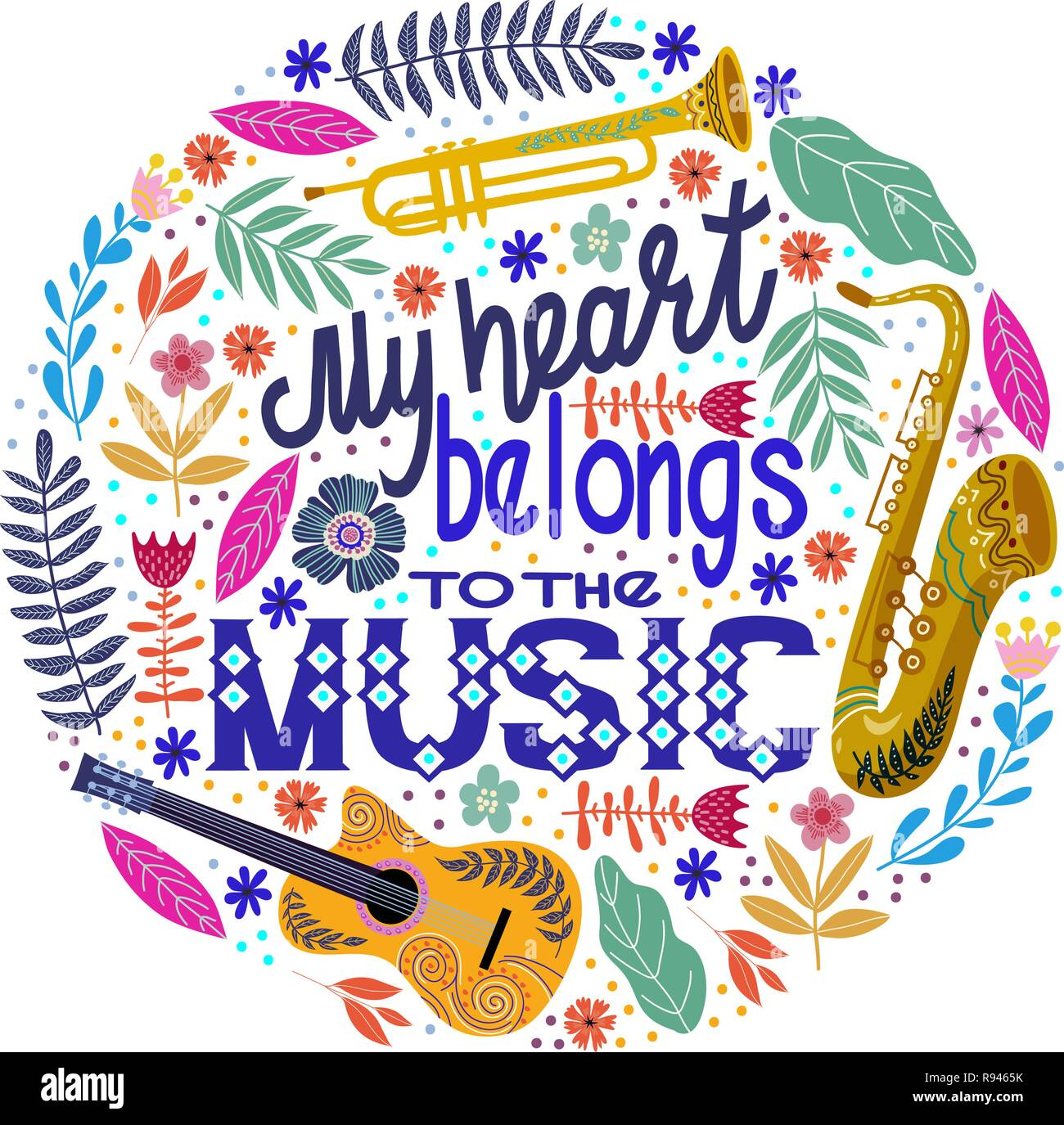 Colorful Round concept on a white background, lettering with musical instruments and flowers. Hand drawing flat doodle vector illustration. - Stock Vector