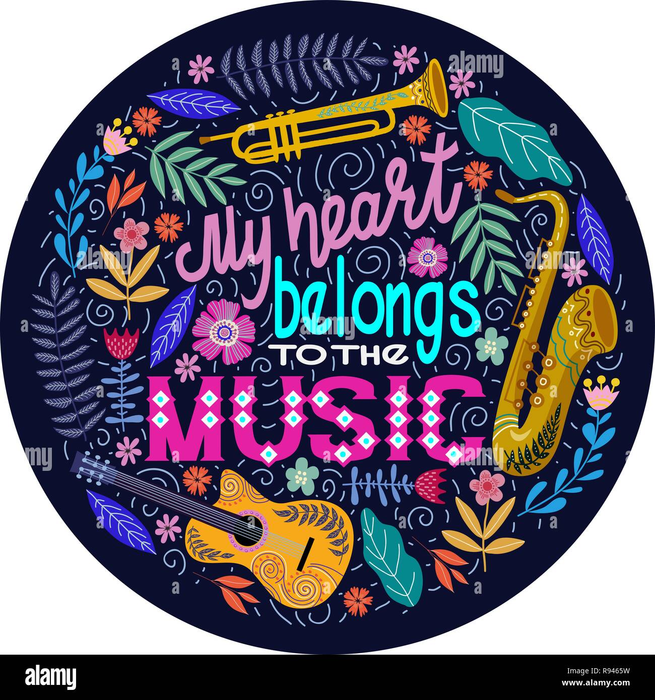 Bright colorful Round concept on a white background, lettering with musical instruments and flowers. Hand drawing flat doodle vector illustration. - Stock Vector