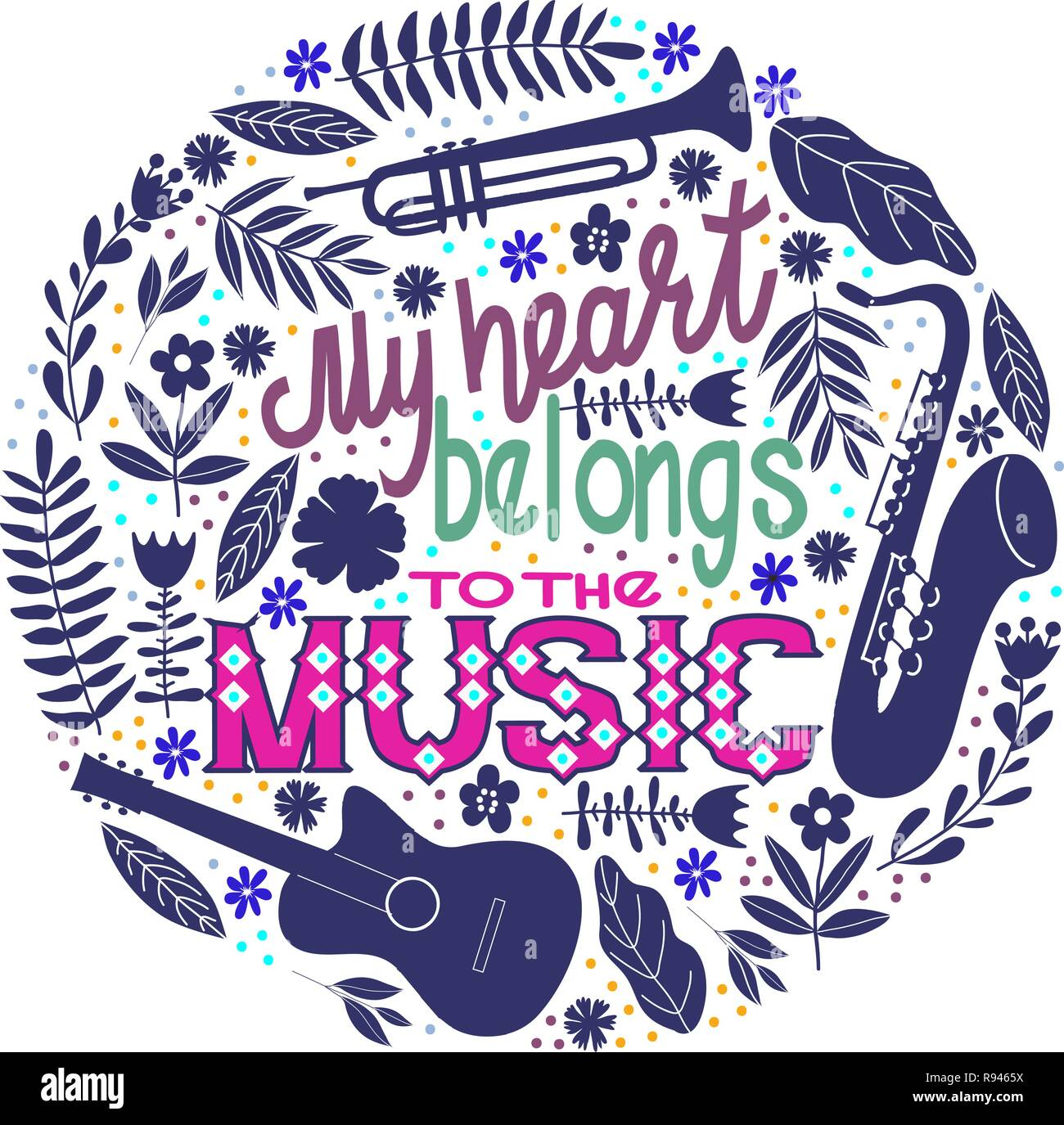 Round concept on a white background, lettering with contours musical instruments and flowers. Hand drawing flat doodle vector illustration. - Stock Vector