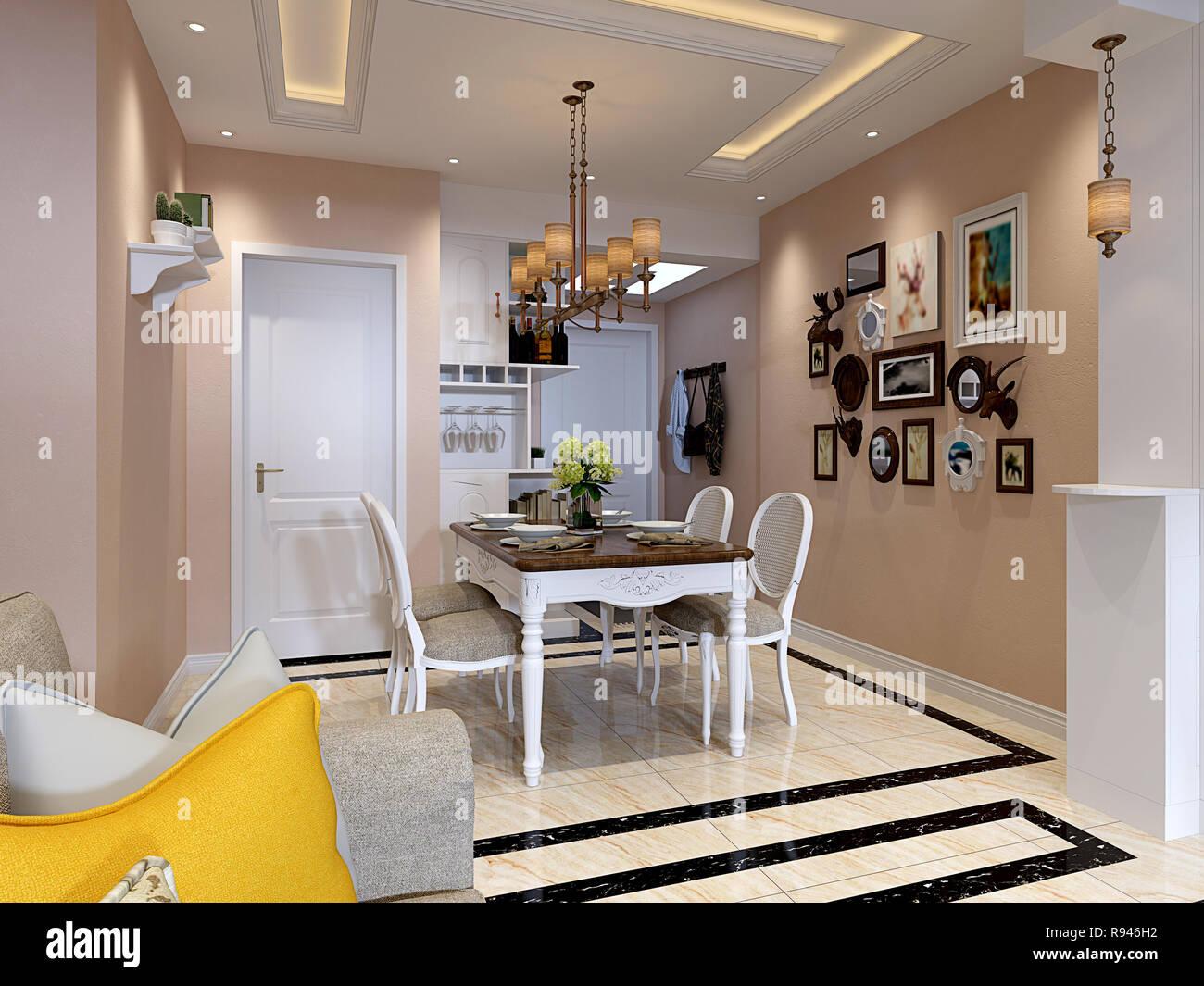 3d render postmodern house living room stock image