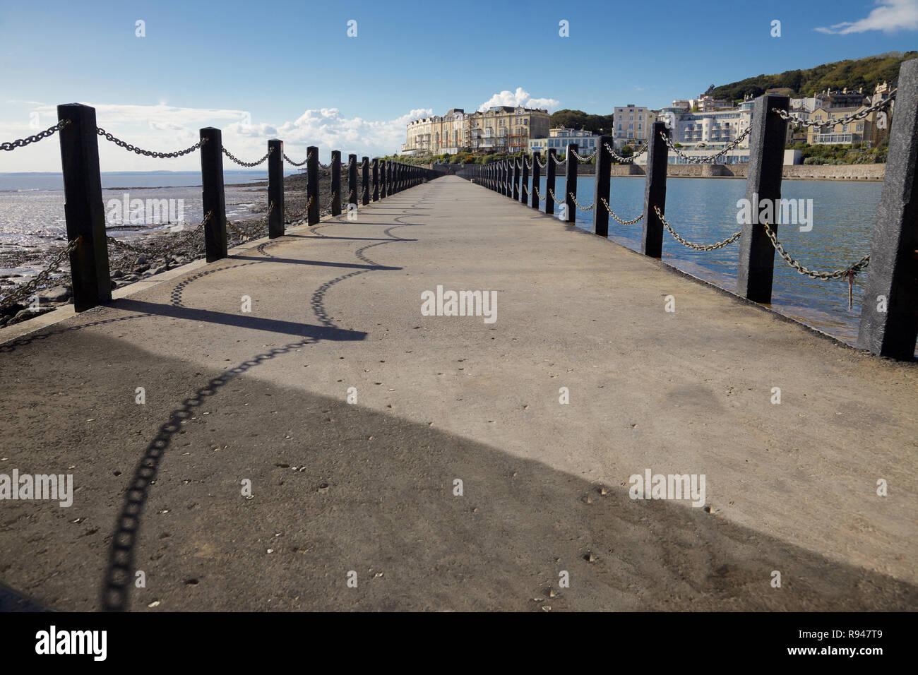 Walk way at  Marine Lake, Weston Super Mare, England - Stock Image