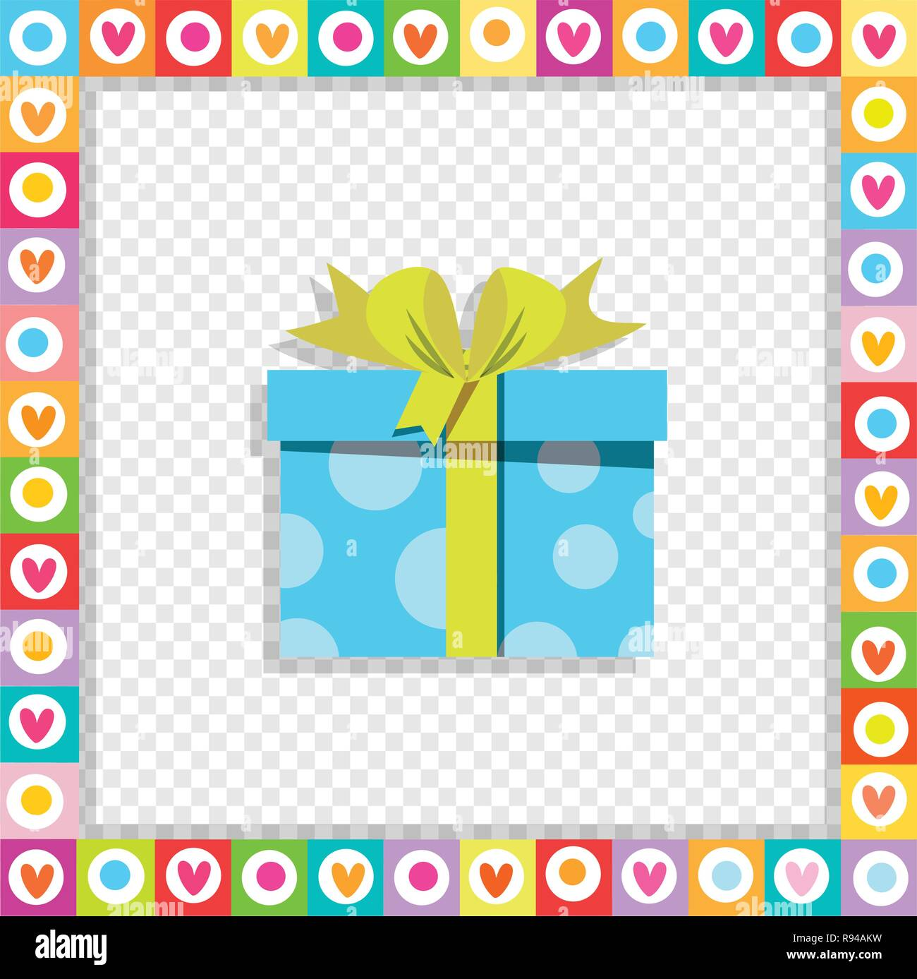 Vector illustration of cute cartoon blue gift box wrapped with festive ribbon framed with heart border isolated. Present icon, anniversary logo, weddi - Stock Image