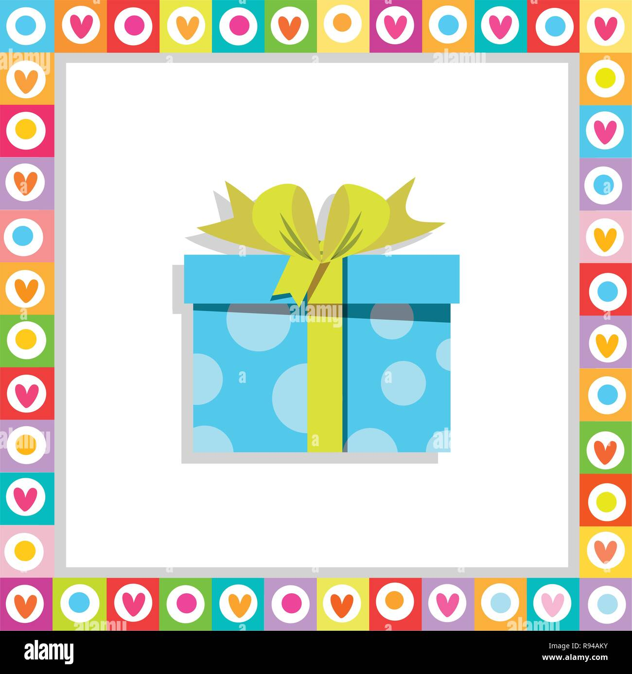 Vector illustration of cute cartoon blue gift box wrapped with festive bow framed with heart frame isolated. Present icon, anniversary logo, wedding,  - Stock Image