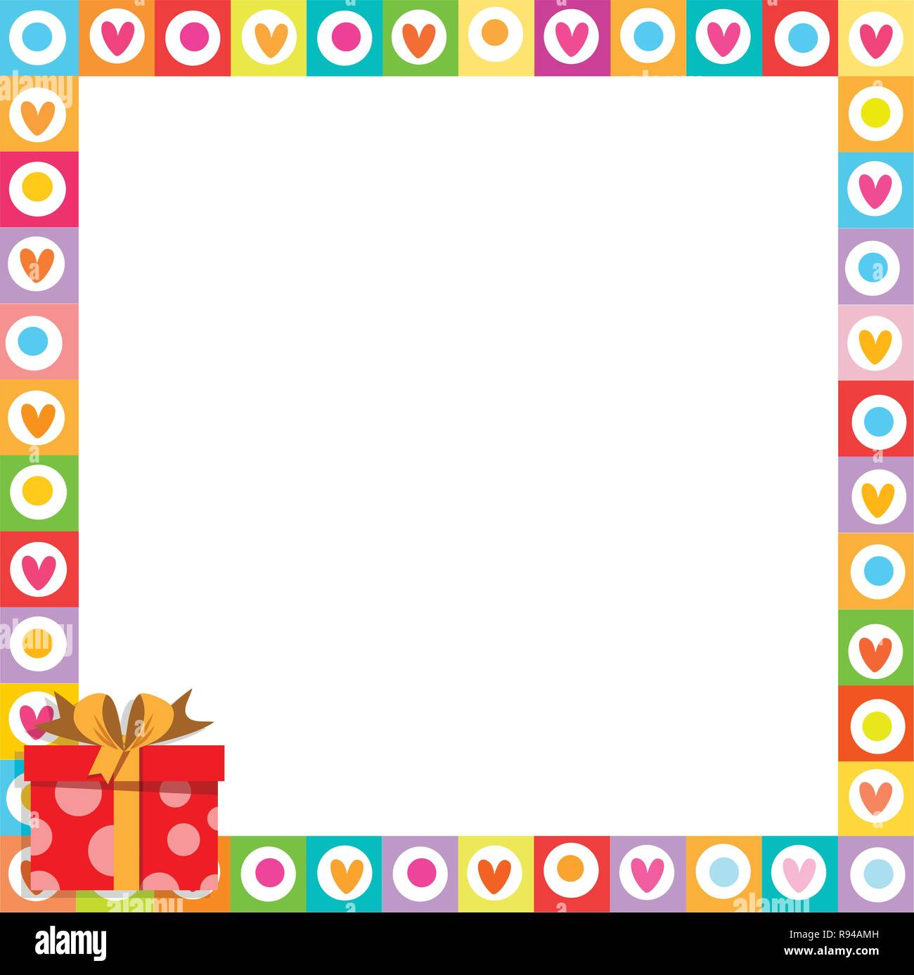 Vector cute vibrant border photo frame made of doodle hearts with red gift box with ribbon in corner. Multicolored template with copyspace for Valenti - Stock Image