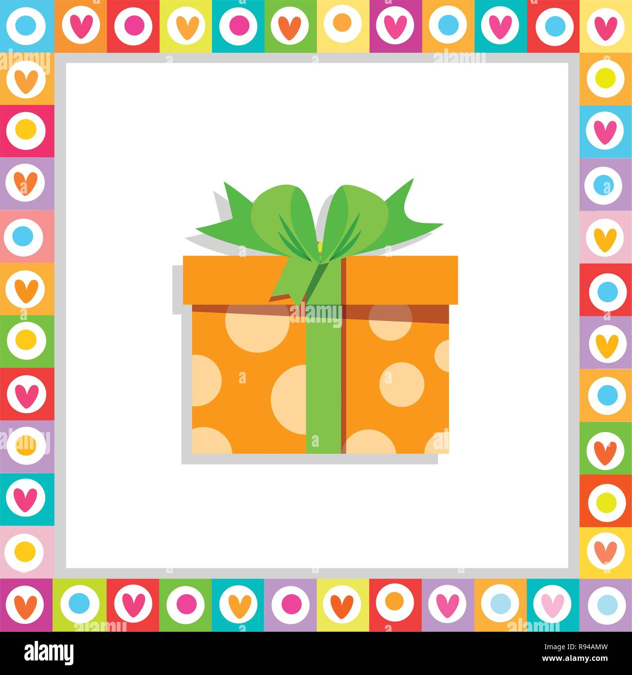Vector illustration of cute cartoon orange gift box wrapped with festive bow framed with heart frame isolated. Present icon, anniversary logo, wedding - Stock Image