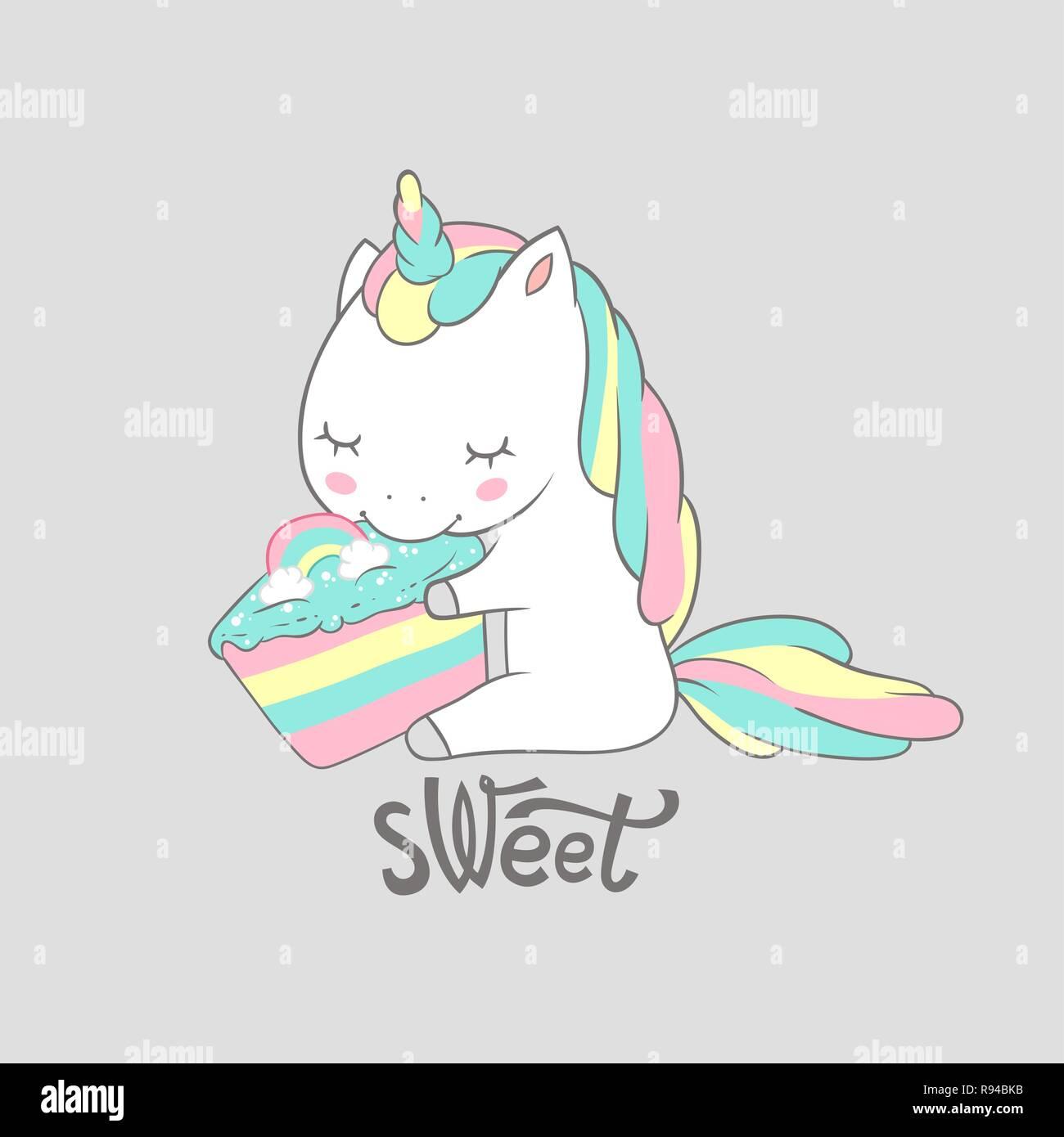 Magic Unicorn Eat Sweet Birthday Cake Poster Print. Cute