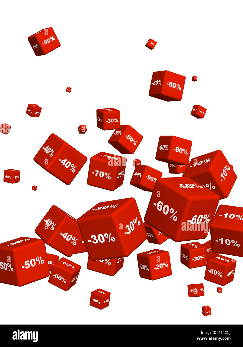 Red boxes with the goods at a discount. Objects isolated over white - Stock Image