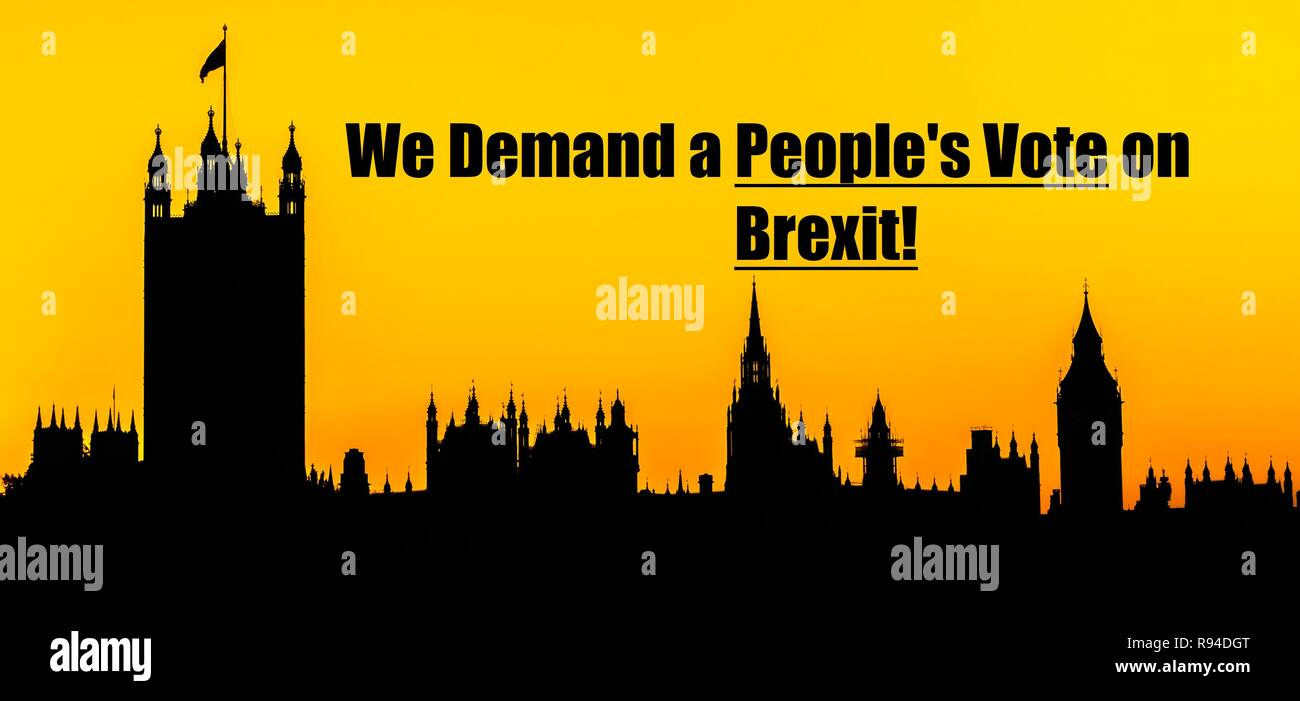 Big Ben and the Houses of Parliament at Westminster Palace, London with message about Brexit people's vote concept - Stock Image