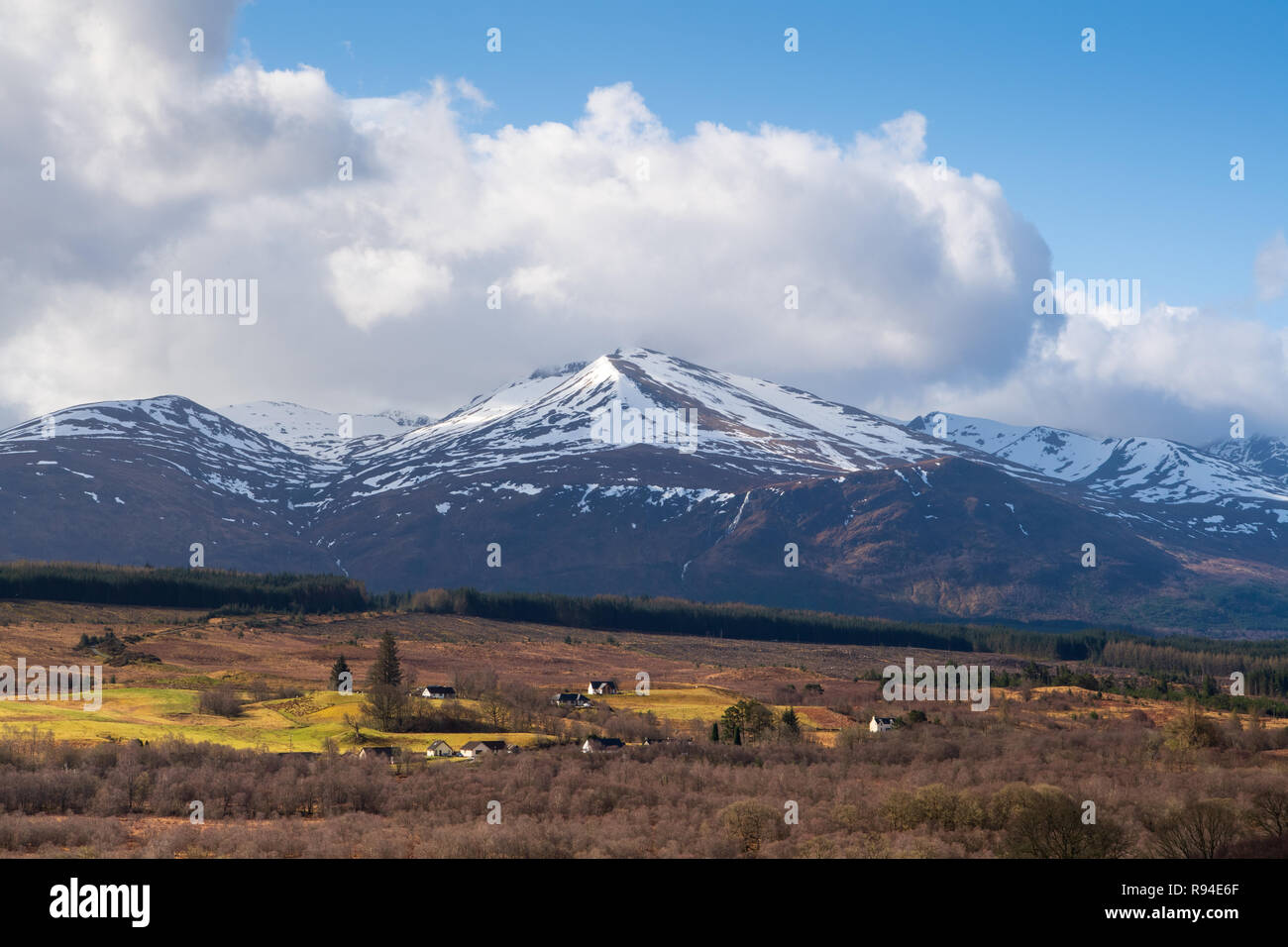 Scottish Highlands overlooking an autumn coloured valley. - Stock Image