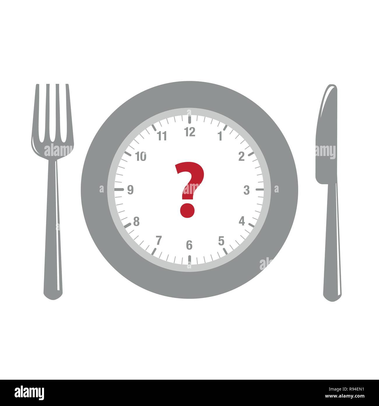 clock and question mark in a plate with cutlery vector illustration EPS10 - Stock Image