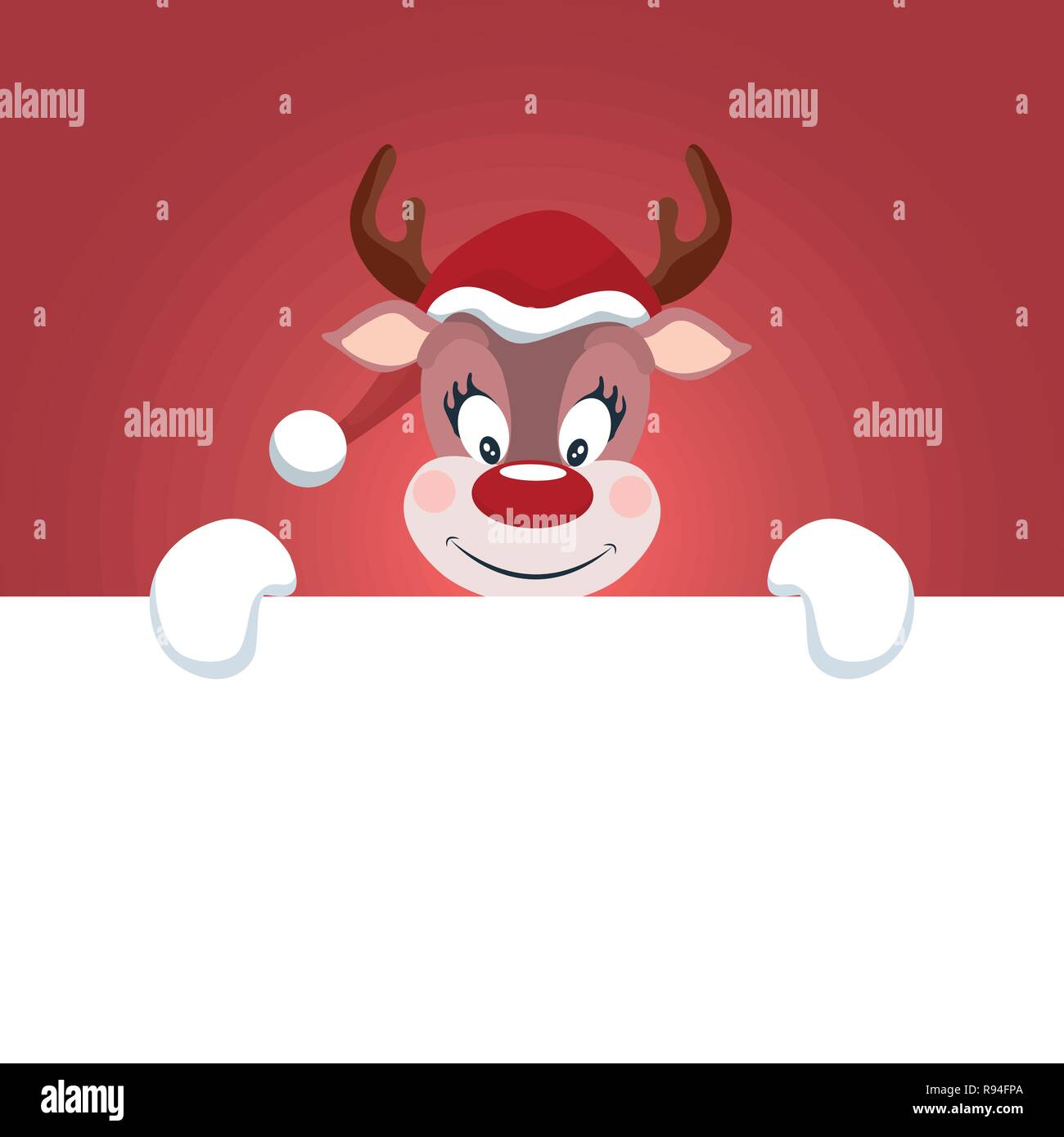 a279ab8c6f2 Reindeer Christmas card with white background to write - Stock Vector