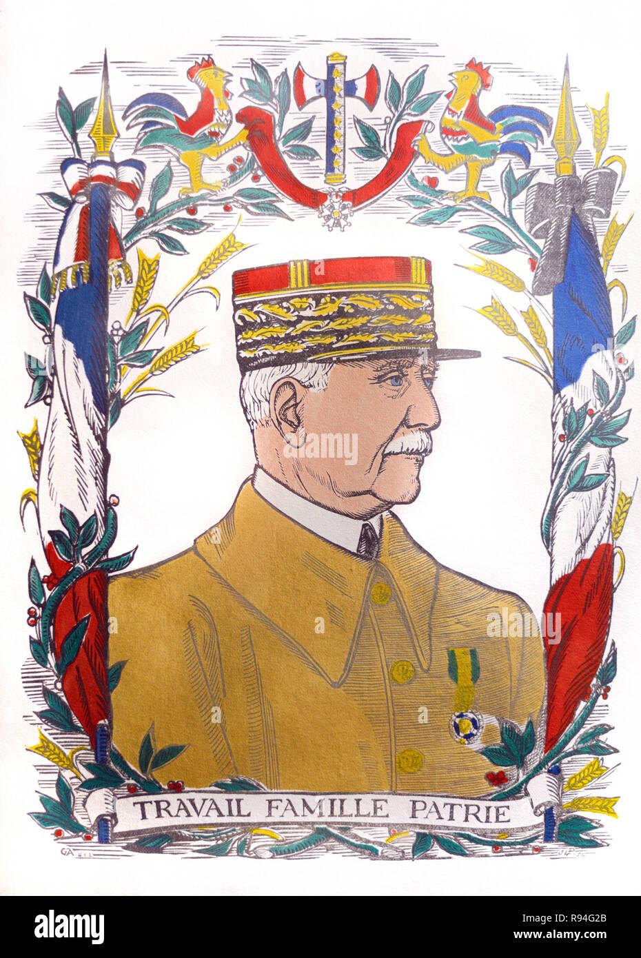 Portrait of Marshal Pétain & French Nationalist Symbols c1940 - Stock Image
