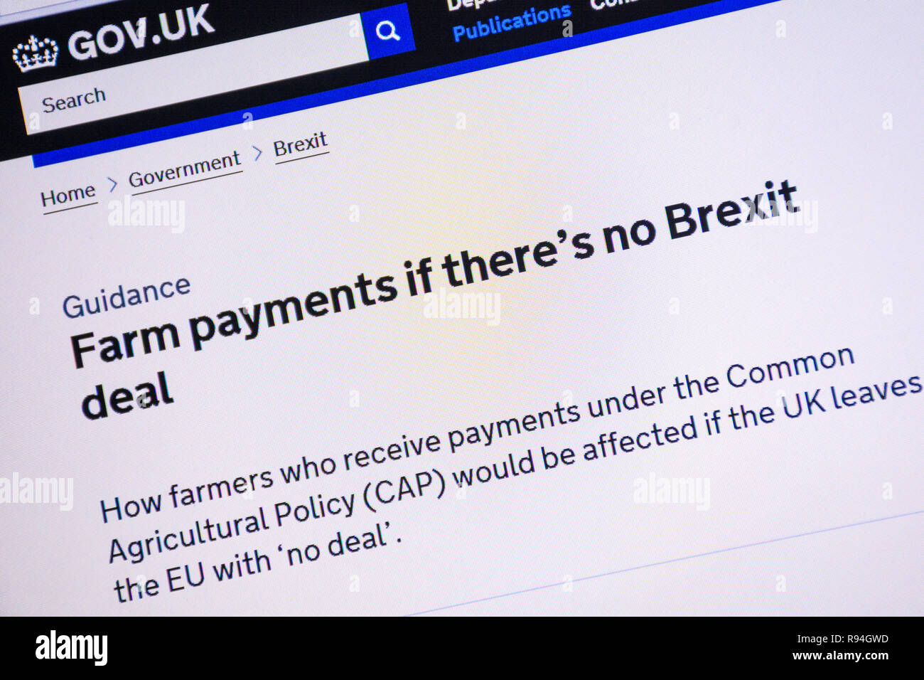 Computer screenshot of the gov.uk website showing advice and information about farm payments if there is no Brexit deal - Stock Image