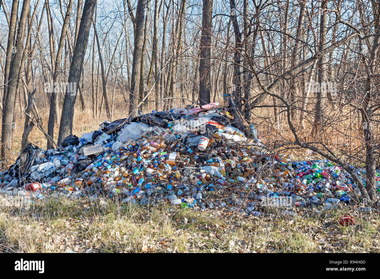 Detroit, Michigan - Many hundreds of bottles and cans illegally dumped in a wooded area near downtown. Many are juice or water containers, which are n - Stock Image