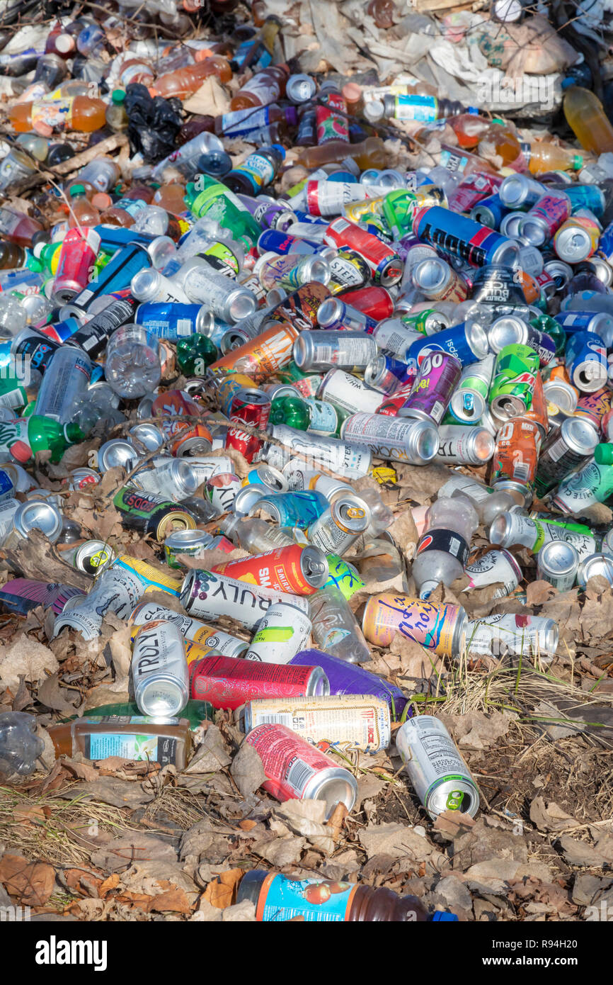 Detroit, Michigan - Many hundreds of bottles and cans illegally dumped in a wooded area near downtown. - Stock Image