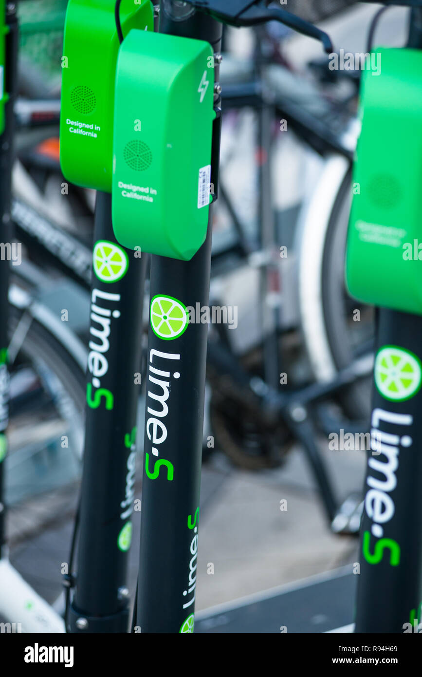 Lime-S electric rental scooters, Vienna, Austria - Stock Image