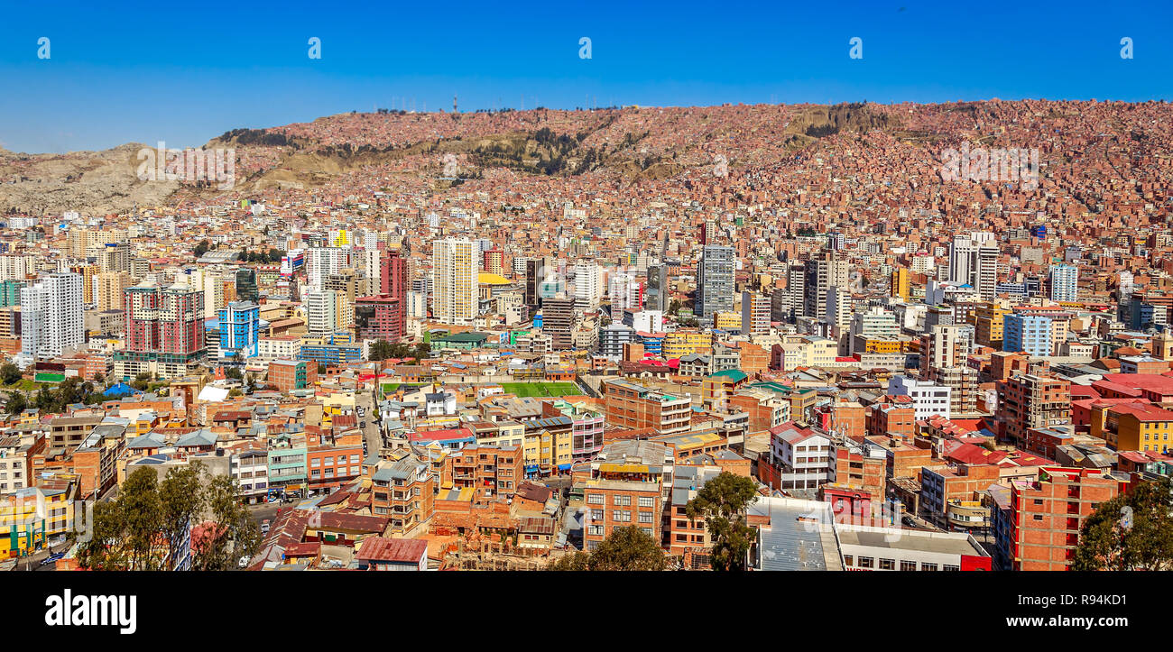Nuestra Senora de La Paz colorful city town center with lots of living houses scattered on the hill in background, Bolivia. - Stock Image