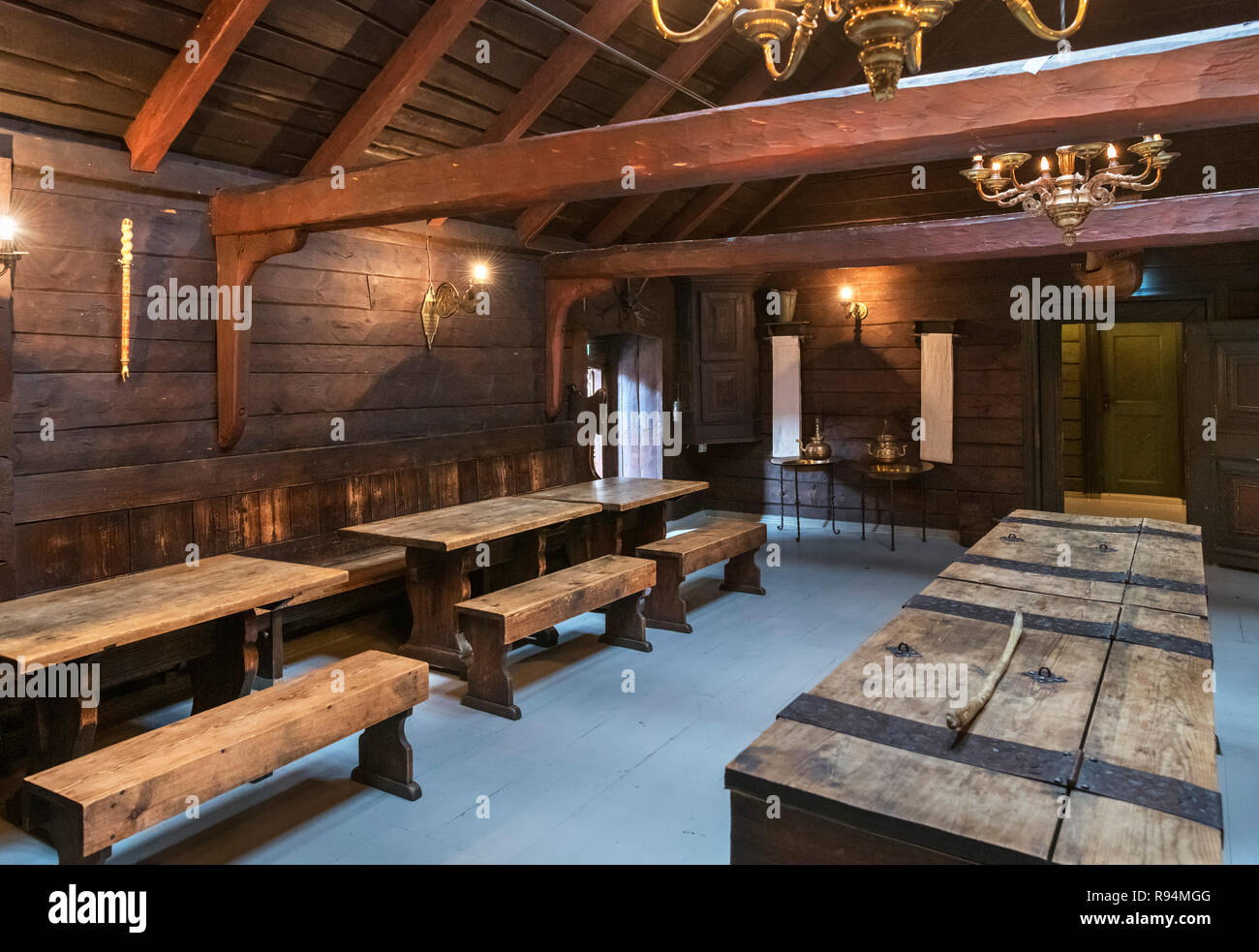 Interior of the Schøtstuene, an assembly hall which is part of the Hanseatic Museum (Det Hanseatiske Museum), Bergen, Hordaland, Norway - Stock Image