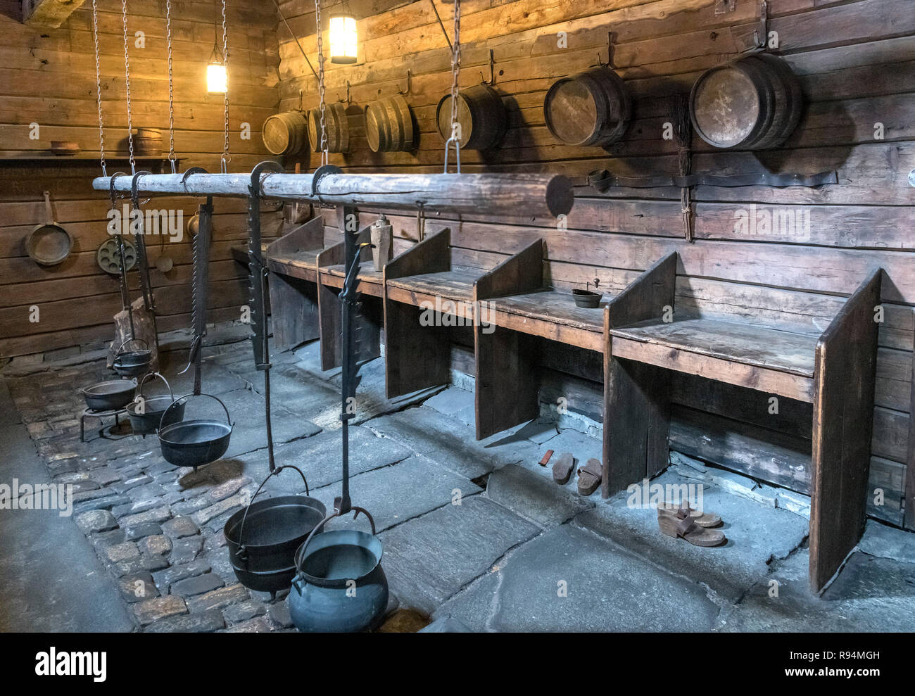 The cookhouse at the Schøtstuene, an assembly hall which is part of the Hanseatic Museum (Det Hanseatiske Museum), Bergen, Norway - Stock Image