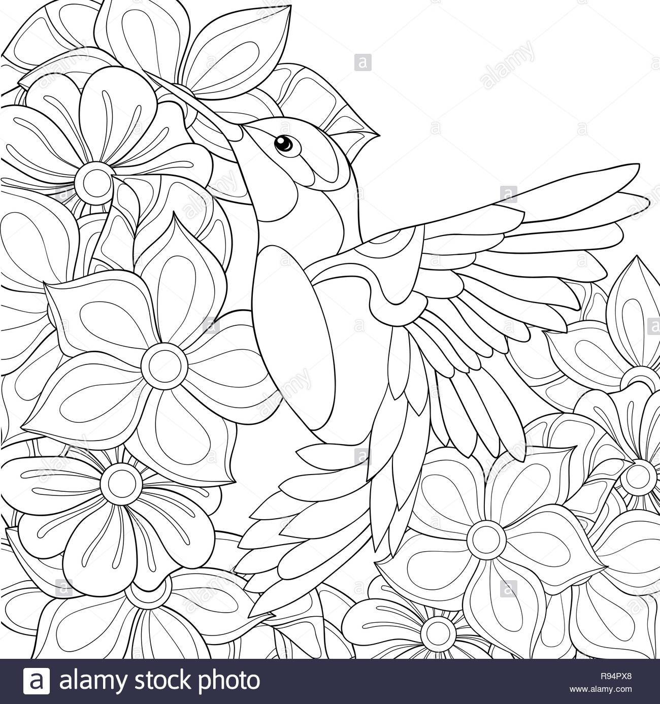 A Cute Hummingbird On The Background With Flowers Image For