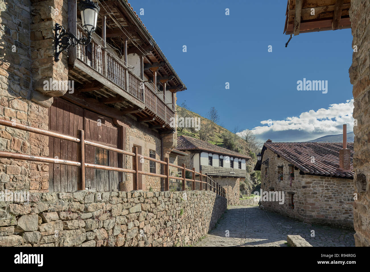 Bárcena Mayor, declared the prettiest town in Spain, Cantabria, Europe - Stock Image