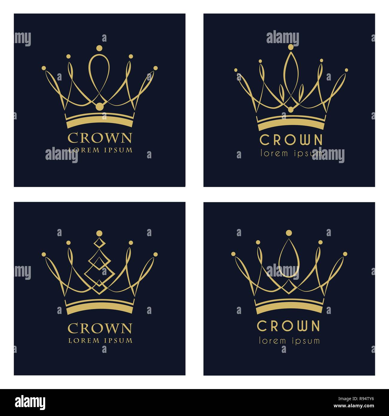 Vintage Crown Logo Royal King Queen abstract Logo design vector template. Vector, illustration, eps 10. - Stock Image