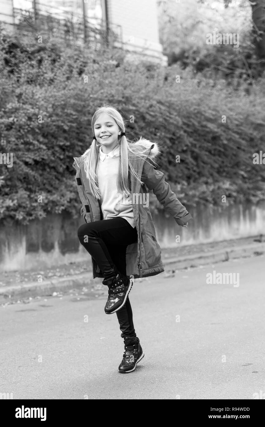 ec9bc787f Cute Little Girl Outdoor Fashion Black and White Stock Photos ...