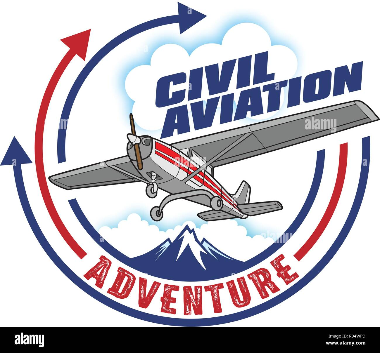 Civil Aviation icon, label design - Stock Image