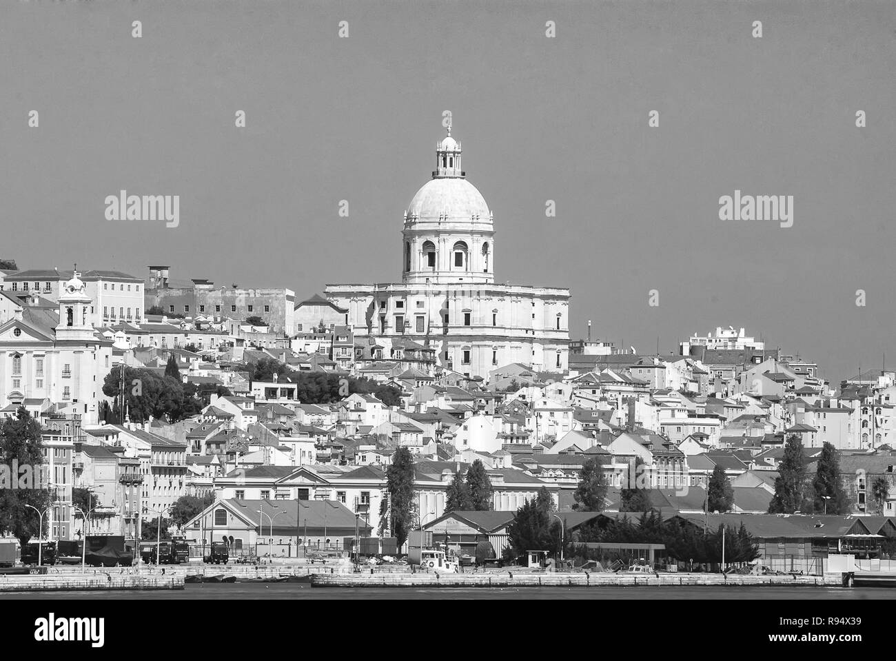Lisbon Portugal April 03 2010 City View From Sea Church Building And Houses On Sunny Blue Sky Architecture And Design Concept City Skyline On Urban Landscape Travelling On Summer Vacation Stock Photo Alamy