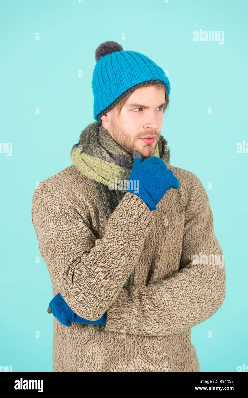 8462de6f5b8 winter-fashion-knitted-clothes-man-knitted-hat-gloves-and-scarf-winter -fashion-man-wear-knitted-accessory-turquoise-background-winter-accessories-concept-  ...