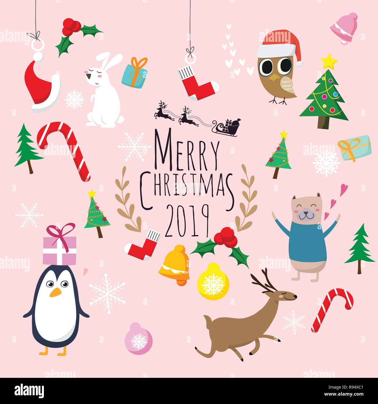 Merry Christmas 2019 Cute Cartoon Of Animals Character Christmas