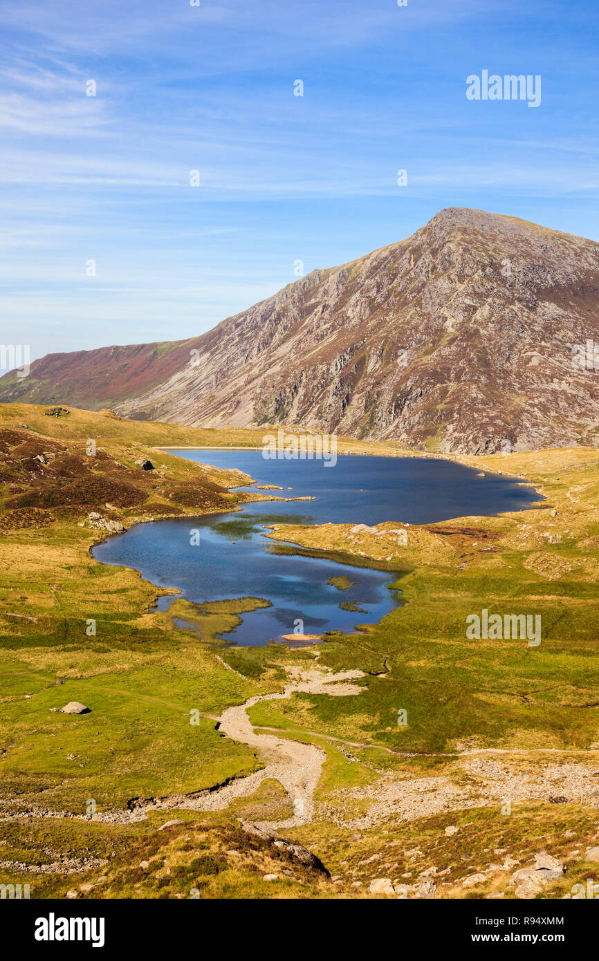 High view above Llyn Idwal in Cwm Idwal National Nature Reserve with Pen Yr Ole Wen mountain beyond in Snowdonia National Park. Ogwen Gwynedd Wales UK Stock Photo