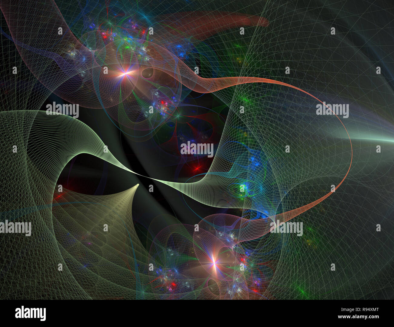 Abstract space geometry surfaces, tunnel grid  Giant
