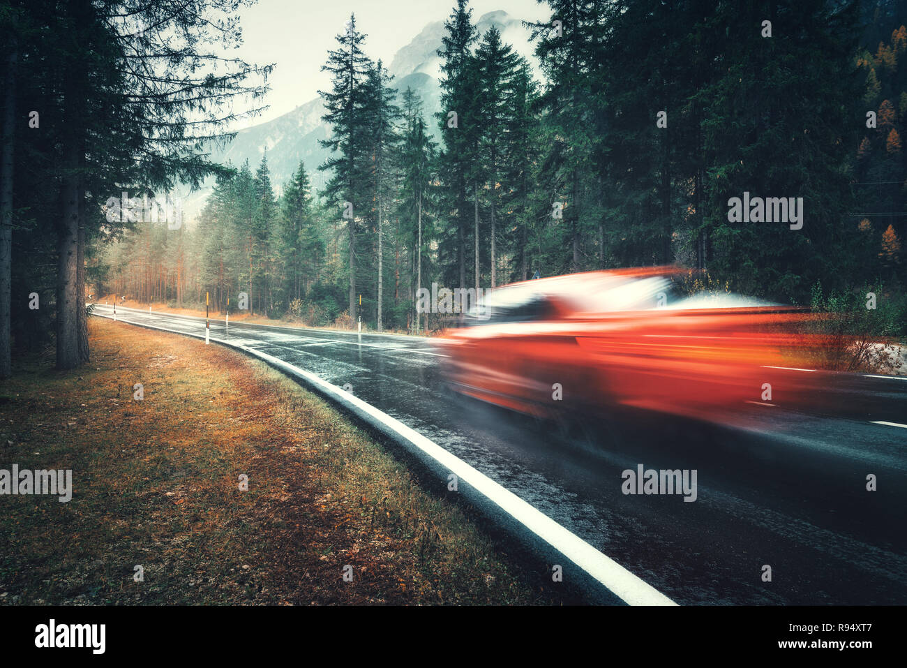 Blurred red car in motion on the road in autumn forest in