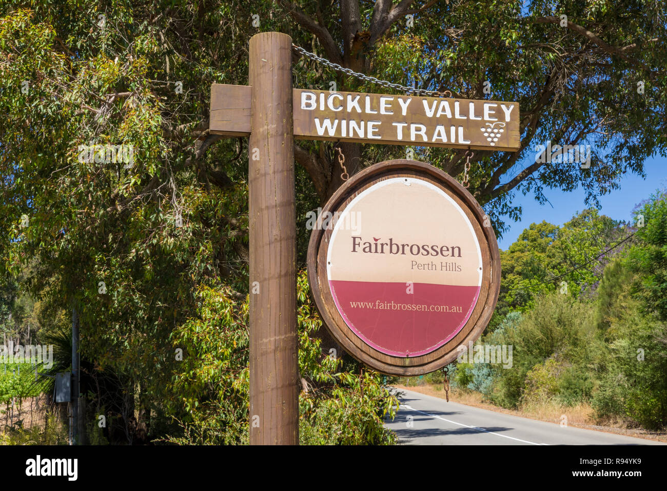 Fairbrossen Winery and Cafe sign along the Bickley Valley Wine Trail, Carmel, Western Australia - Stock Image
