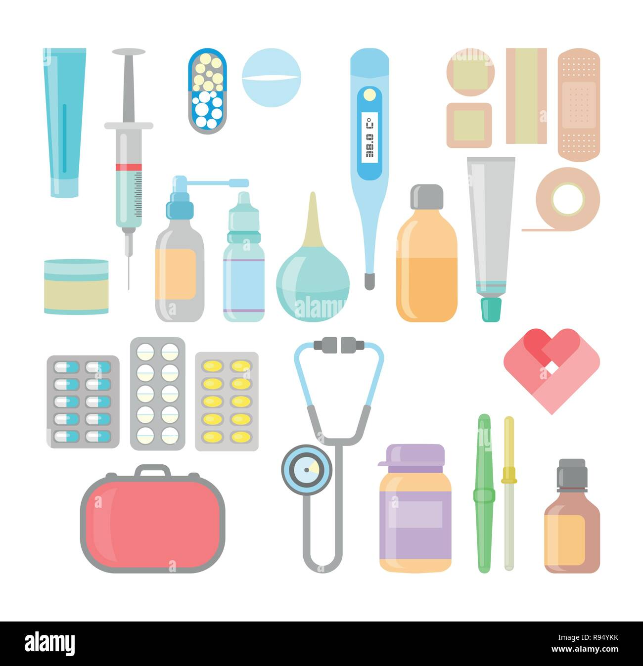 Medicine, pharmacy, hospital set of drugs with labels. - Stock Vector