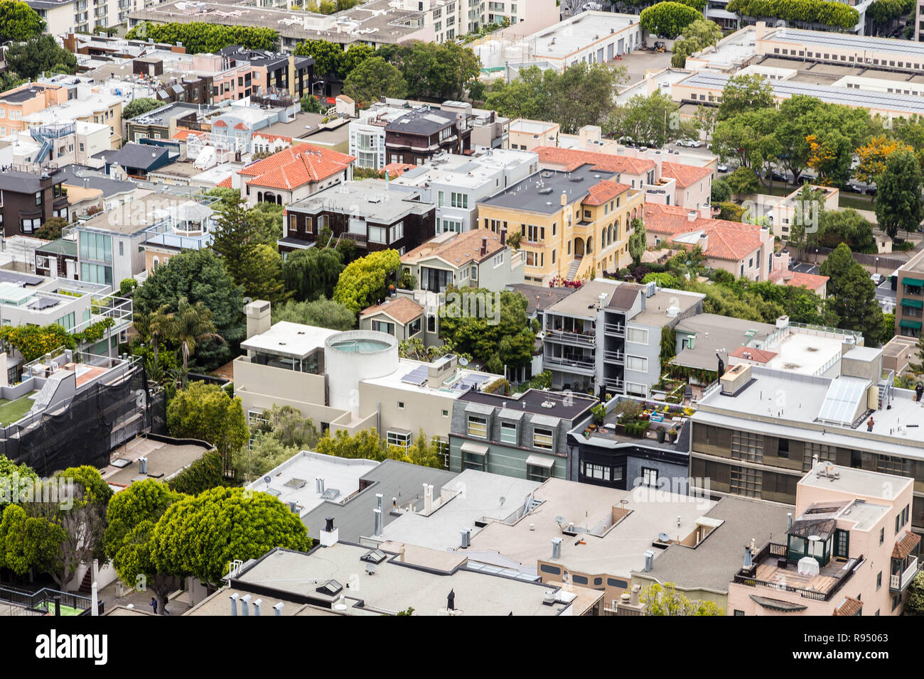Aerial view of San Francisco rooftops from Coit Tower - Stock Image