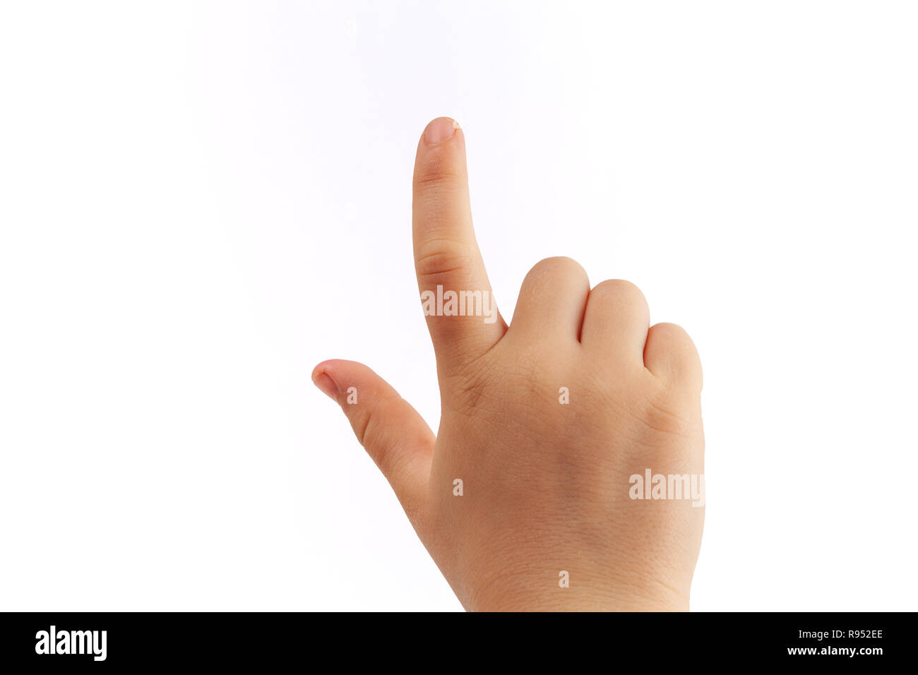 Child's right hand tapping with index finger isolated on white background - Stock Image